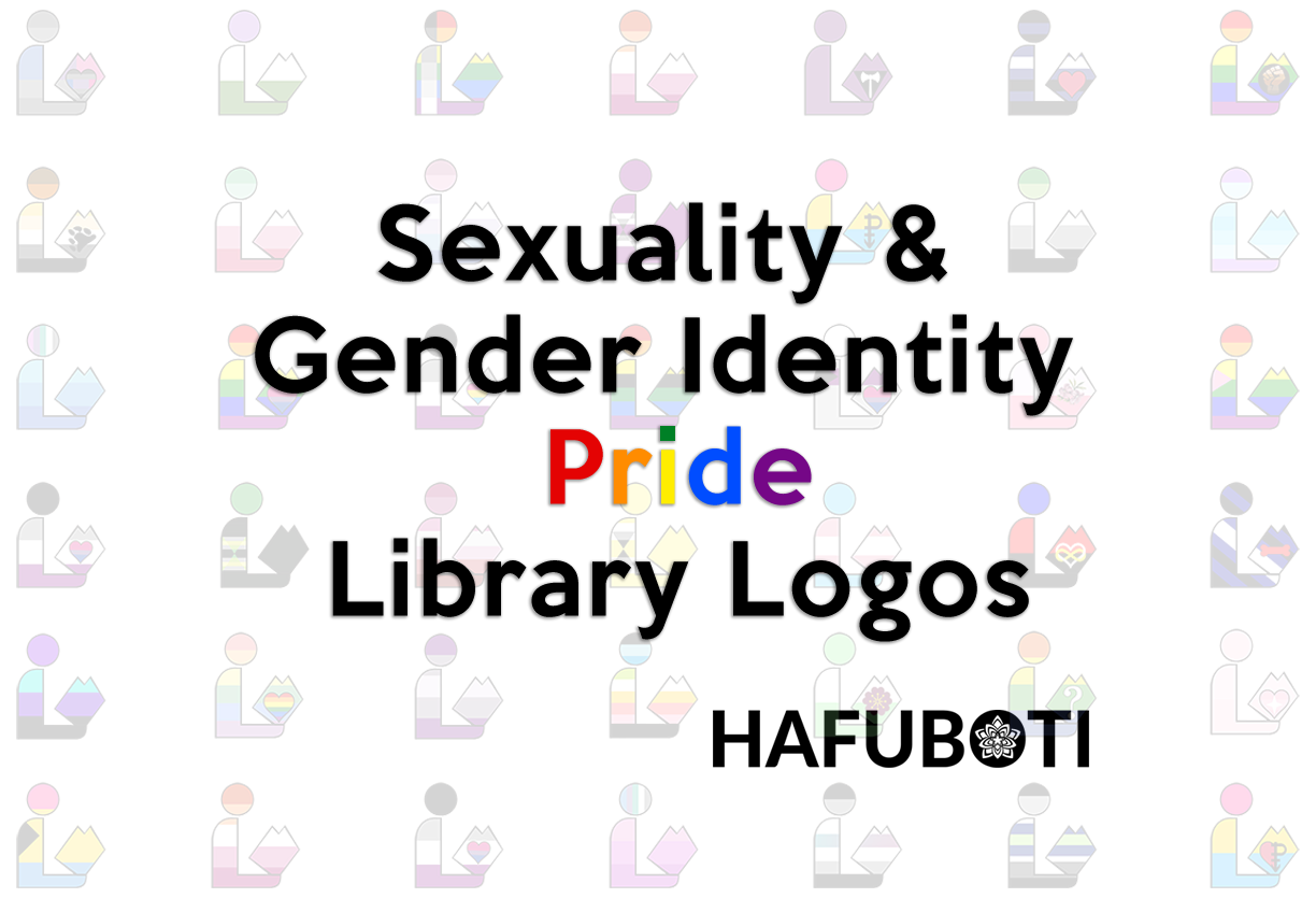 A link to the Pride Library created by Hafuboti. Features the universal library symbols with various pride flag colors.